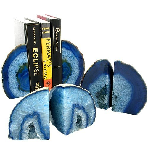 agate blue bookends