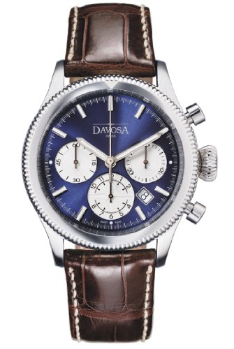 Davosa Men's Automatic Watch with Blue Dial Chronograph Display and Brown Leather Strap 16100645