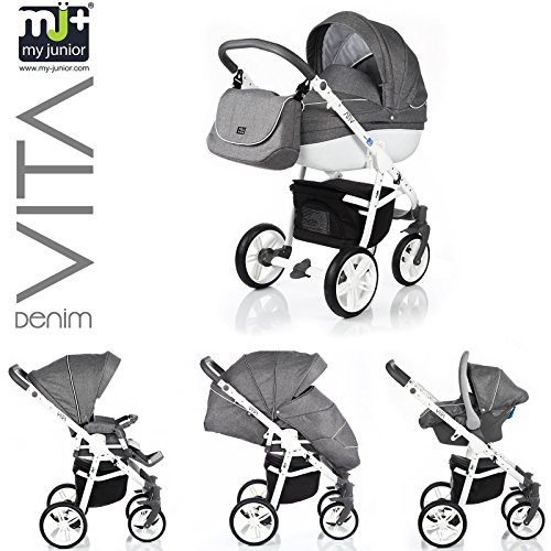 my junior vita denim 3in1 2in1 kombikinderwagen. Black Bedroom Furniture Sets. Home Design Ideas