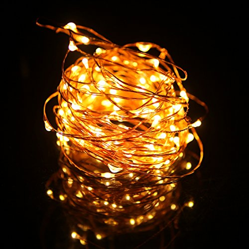 HDE LED Fairy String Lights [Copper Wire] Waterproof Light Strand Power Adapter - College Dorm ...