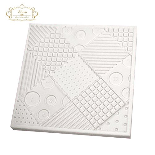 Vivin Patchwork Quilt Cake Mould Silicone Design Mat for Cake Decorating Cupcakes Sugarcraft Candies Pearl Fondant Paste Bead Color in Random - 4