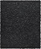 Safavieh Leather Shag Collection Metro Handmade Leather Area Rug, Black