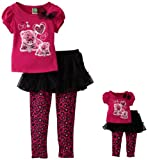 Dollie & Me Girls 2-6x Short Sleeve Skegging Set and Doll Garment