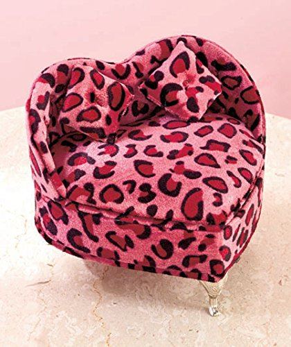 Pink Animal Print Heart Shape Chair Accessories Jewelry Box front-24815
