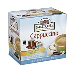 Grove Square Cappuccino, French Vanilla, 18-Count Single Serve Cup for Keurig K-Cup Brewers (Pack of 3) by Grove Square Coffee [Foods]
