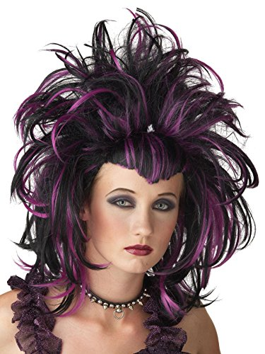 Dark Puple and Black Women Costume Wig with Teased Layers and Widow Peaks Bangs