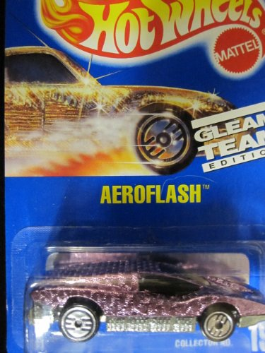 Aeroflash 	1992 Hot Wheels # 191 Gleam Team 	Pink Chrome with Ultra Hots Wheels on Solid Blue Card - 1