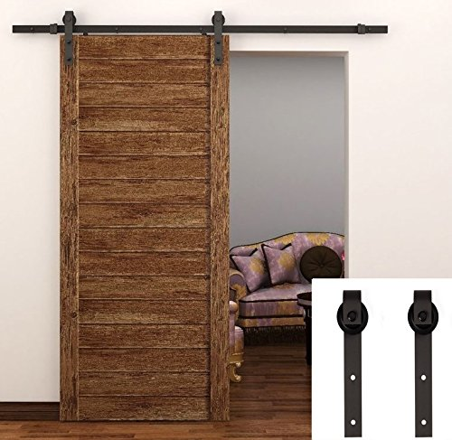 TCBunny 8 FT Sliding Barn Door Hardware Black Antique (8 Barn Door Hardware compare prices)