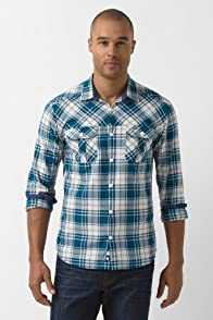 Long Sleeve Slim Fit Chevron Twill Plaid Woven Shirt