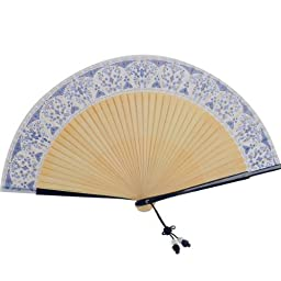 Japanese Design Silk Handheld Folding Fan,Blue and White porcelain HF188