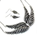 Silvertone Textured Double Wings Necklace and Earrings Set Fashion Jewelry