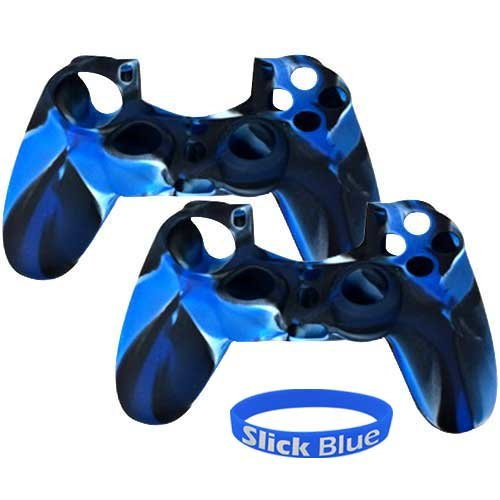 [2 Pack] PlayStation-4-Controller-Case SlickBlue Camo Series - Silicone Protection Case Skin for Sony PS4 Controllers - Blue (Color: 2-Pack-Camouflage-Blue)