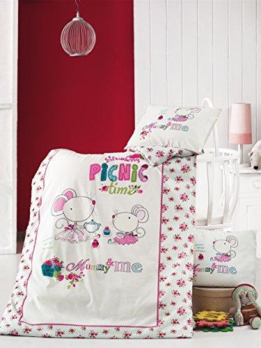 2-tl-bambini-baby-biancheria-da-letto-per-bambine-picnic-time-100-cotone-100-x-135-40-x-60-cm