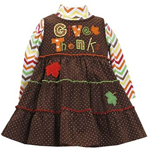 Bonnie Baby Baby-Girls Infant Thanksgiving Corduroy Jumper Set, Brown, 12 Months front-956568