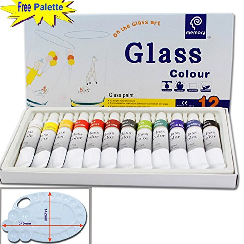 magicdor-12-cols-glass-paint-with-free-palette-professional-glass-colour-set-quality-non-toxic-paint