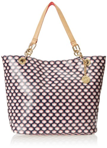 Tommy Hilfiger Th Signature Reversible Charleston Print Shoulder Bag,Navy/Red,One Size