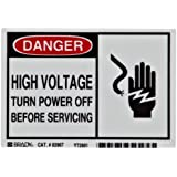 "Brady 83907 3-1/2"" Height, 5"" Width, High Performance Polyester, Black And Red On White Color Alert Sign, Legend ""Danger, High Voltage Turn Power Off Before Servicing With Picto"""