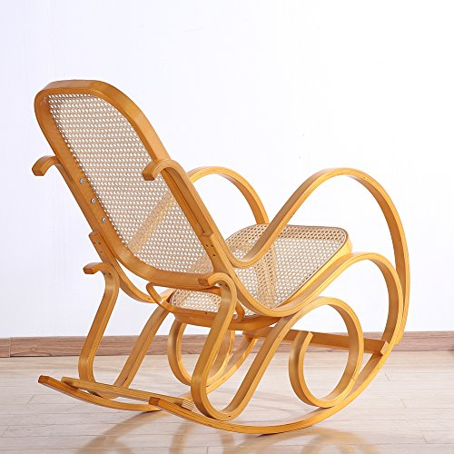 Rocking Chair Rattan Knitting Leisure Chair Vintage Living Room Furniture Conservatory Relax Bentwood Birch Easy Chair (Wood color) 2