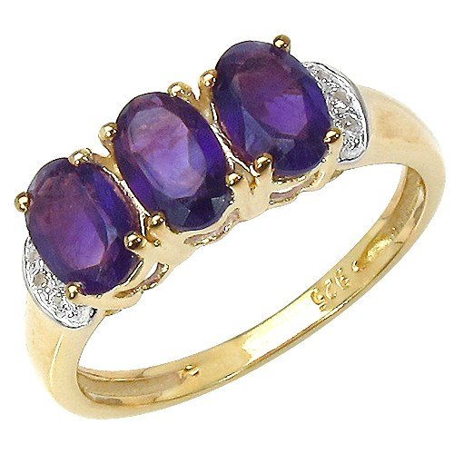 The Amethyst Ring Collection: Ladies 14K Gold Plated Sterling Silver Amethyst Engagement Ring (Size T)