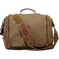 Kattee Designer Canvas Messenger Shoulder Bag Tote, Fit Ipad 14 Inch Laptop (Army Green)