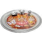 SHIV SHAKTI ARTS Steel Big Pooja Aarti Thali Along With Free Incense Stick And Aarti Book Diameter=11.5 Inch