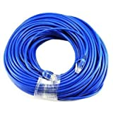 CableVantage New 200ft 60M Cat5 Patch Cord Cable 500mhz Ethernet Internet Network LAN RJ45 UTP For PC Computer PS4 Xbox One Modem Router Blue (Color: blue, Tamaño: 200 feet)
