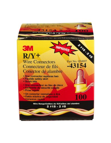 3M R/Y+ Performance Plus Wire Connector, Red With Yellow Skirt, 100 Per Box