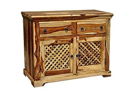 MiaMöbel Sideboard Khatu, vollmontiert, Massivholz, 2 Turen, 2 Schubladen