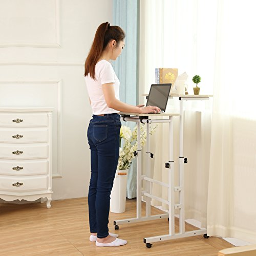 Sdadi Adjustable Height Mobile Stand Up Desk Computer Workstation With Standing&Seating 2 Modes (Light Grain) Adjustable Workstation