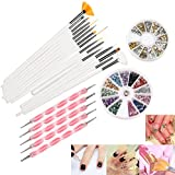 RUIMIO 12 Colors Nail Art Stickers, 15 Pcs Nail Art Brushes, 5pcs Dotting Pen And 3D Nail Art Manicure Wheel With...