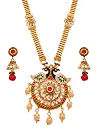 JFL - Premium Ethnic Meenakari Cz American Diamond Peacock One Gram Gold Plated Red & Green Stones Pearls Long...