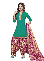 Gugaliya Women's ROYAL CLASS Premium CELEBERATION Series 100 % Cotton UNSTICHED Green Red Color Salwar, Kameez & Dupatta Suit (Baalar 409)