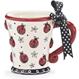 Adorable Ladybug 10 oz Coffee Mug/cup with Dotted Bow Great Gift For Lady Bug Lovers