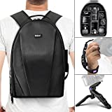 Vivitar Camera Backpack Bag for DSLR Camera - Lens and Accessories w Altura Photo Wrist Strap and Pistol Grip Mini Tripod