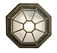 Hexagonal Black/Gold Flush Ceiling Porch Light with Frosted Glass Diffuser by Haysom Interiors