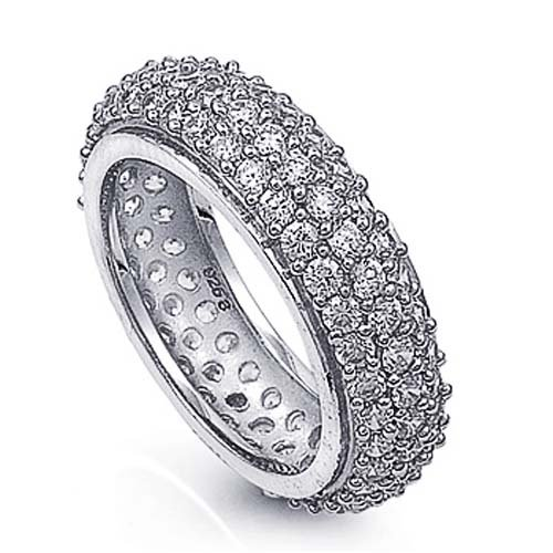 Little Treasures Rhodium Plated Sterling Silver Wedding & Engagement Ring Clear CZ Pave setting Eternity Ring
