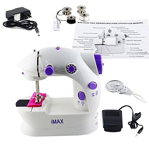 Imax LSS-202 Mini 2-Speed Sewing Machine with Foot Pedal, Purple