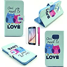 buy S4 Mini Case, Jcmax Owl Pattern [Wallet Feature] Top Grade Pu Leather Cover With Folio Flip Stand Feature For Samsung Galaxy S4 Mini (1 X Screen Protector 1 X Stylus Pen)-Love-Owl