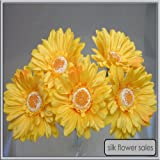 X5 single stem yellow gerbera artificial silk