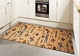 Teppich Modern, Flachgewebe, Gel-Läufer, Küchenteppich, Coffee Braun Beige Schwarz (TraumTeppich) Größe 80 x 500 cm