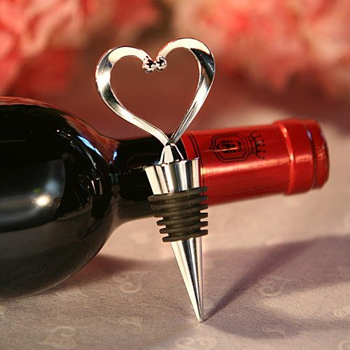 Heart Wine Bottle Stopper Wedding Favors, 48