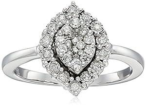 10k White Gold Pear Shaped Diamond Ring (1/3cttw, I-J Color, I2-I3 Clarity), Size 7