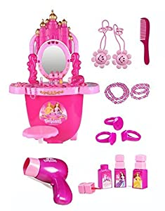 Make-Up and Vanity Battery Operated Toy Dressing Table Pretend Play-Set - Lights, Sound and Hair-Dryer with Wind - Includes Tablet Chair
