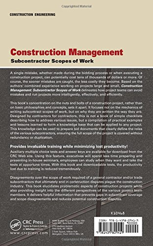 Construction management subcontractor scopes of work home for Order of subcontractors when building a house