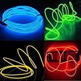 Pack of 4 - 5M 15ft Neon Glowing Strobing Electroluminescent Wires El Wire for Costume Parties, Burning Man Festival,Halloween Decoration