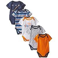 Nautica Baby-Boys Newborn 5 Pack Printed Bodysuit, Assorted