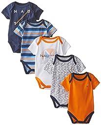 Nautica Baby-Boys Newborn 5 Pack Printed Bodysuit, Assorted, 0-3 Months