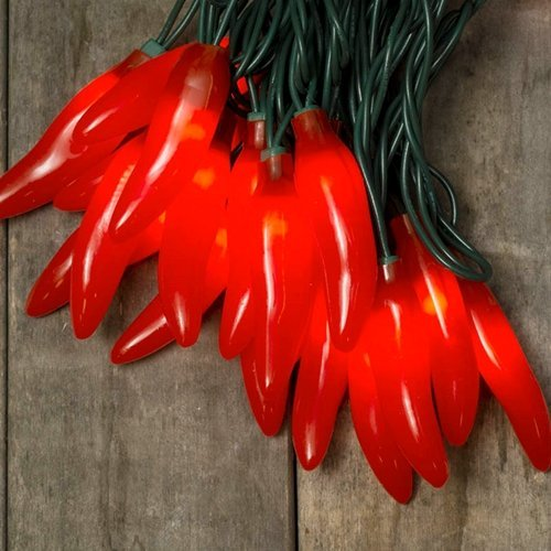 Chili Pepper Fiesta String Lights, Plug-In, Indoor Outdoor, 35 Red Bulbs (Mini Chili Pepper Lights compare prices)