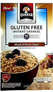 New Quaker Select Starts Gluten Free Instant Oatmeal, Maple and Brown Sugar, 12.1 oz Box - 8-1.51 oz Packets