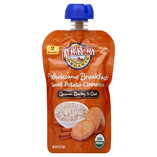 Earth's Best Organic Stage 2, Sweet Potato & Cinnamon Breakfast, 4 Ounce Pouch (Pack of 12)